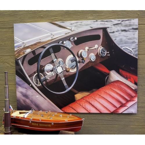 Vintage Powerboat Cockpit Canvas