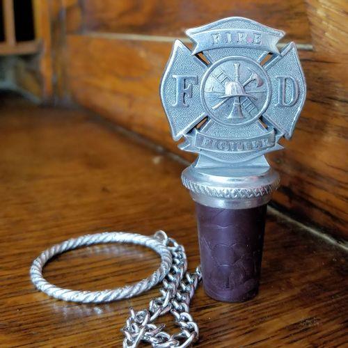 Firefighter Pewter Bottle Stopper