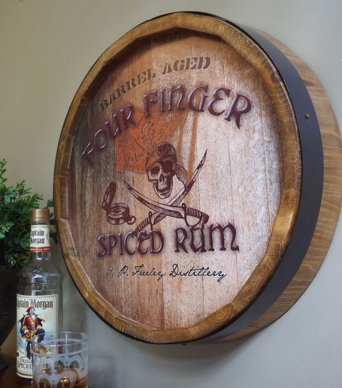 Personalized Pirate Style Barrel End Bar or Distillery Sign