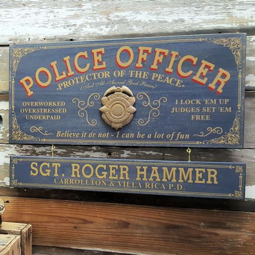 Police Officer Wood Plank Sign with Optional Personalization