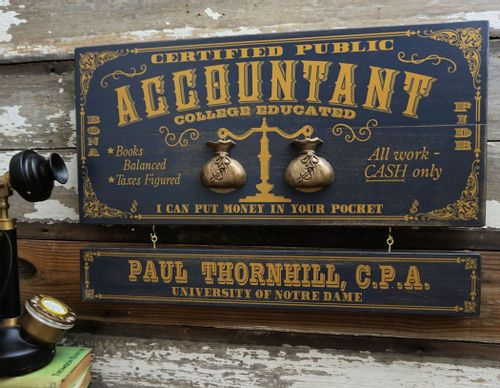 Accountant Wood Profession Sign with Optional Personalization
