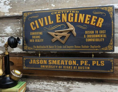 Civil Engineer Wood Sign with Optional Personalization