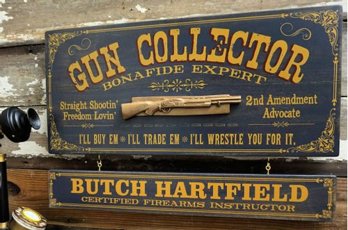 Gun Collector Wood Sign with Optional Personalization