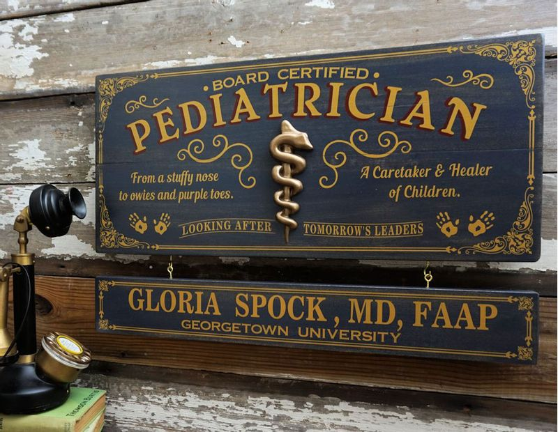 Pediatrician Profession Wood Sign with Optional ...