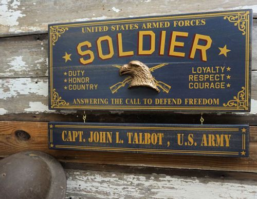 Soldier Wood Plank Sign with Optional Personalization