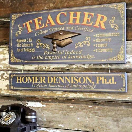 Teacher Wood Sign with Optional Personalization