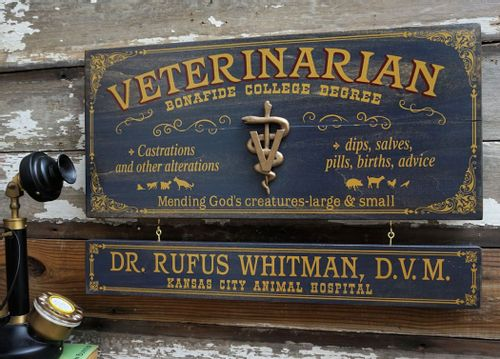 Veterinarian Personalized Wood Sign with Optional Personalization