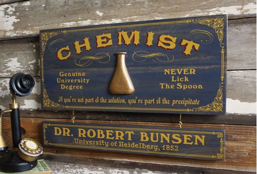 Chemist Wood Sign with Optional Personalization