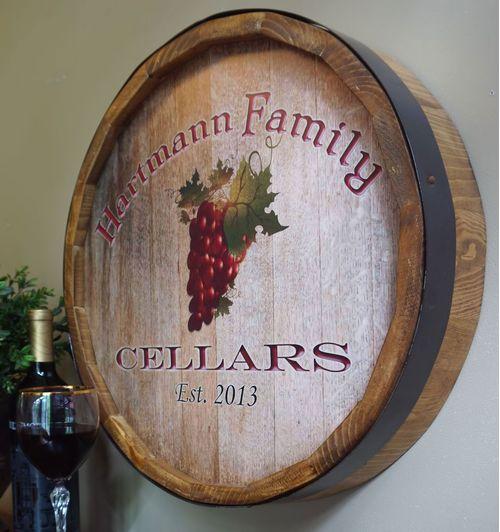 Wine Grapes Personalized Quarter Barrel Sign