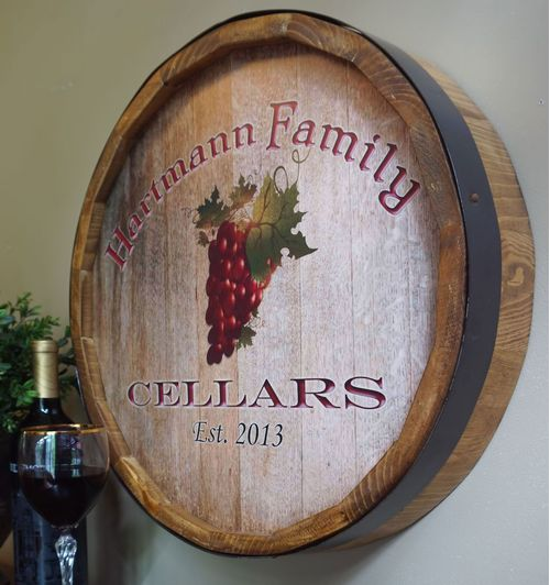 Wine Grapes Personalized Quarter Barrel Sign