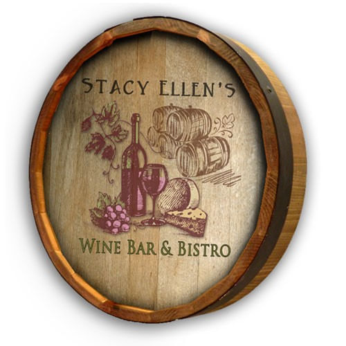 Wine Bistro Personalized Barrel End Sign