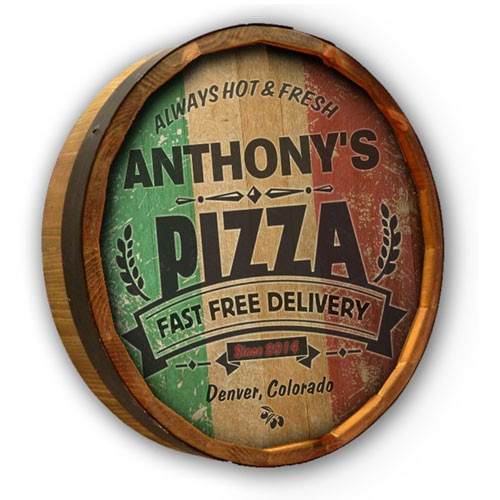 Pizza Personalized Quarter Barrel Sign