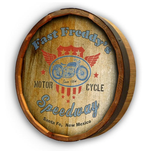 Vintage Style Motorcycle Personalized Quarter Barrel Sign