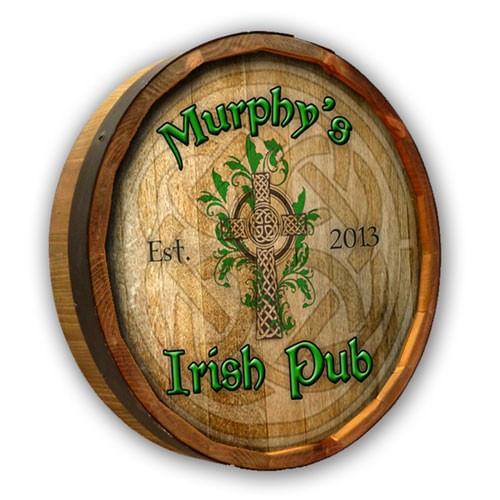 Irish Pub Themed Personalized Quarter Barrel Sign