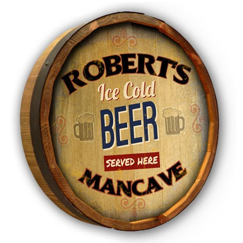 Ice Cold Beer Personalized Barrel End Sign