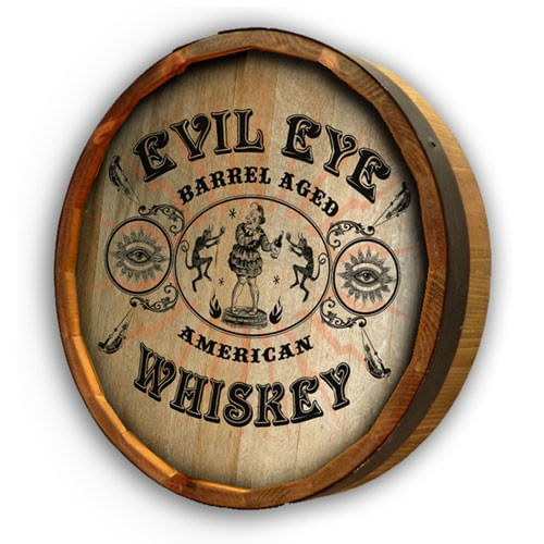 Evil Eye Whiskey Personalized Quarter Barrel Sign
