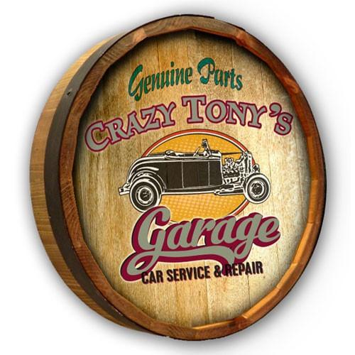 Vintage Car Personalized Garage Barrel End Sign