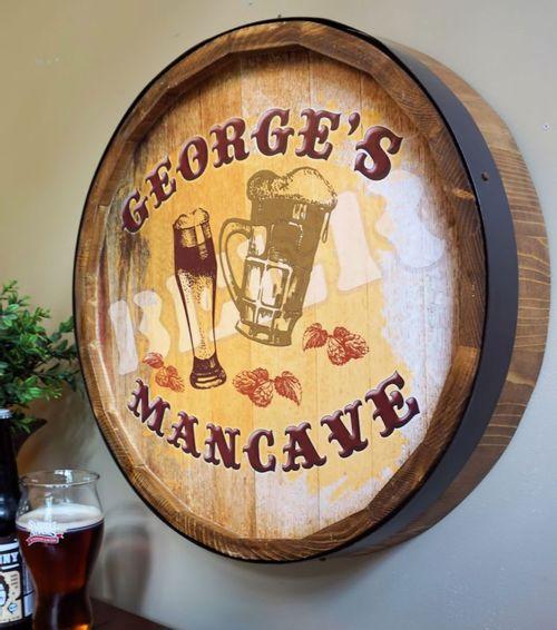 BEER Personalized Quarter Barrel Bar or Mancave Sign