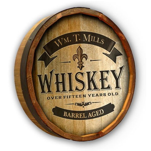 Barrel Aged Whiskey Personalized Quarter Barrel Sign