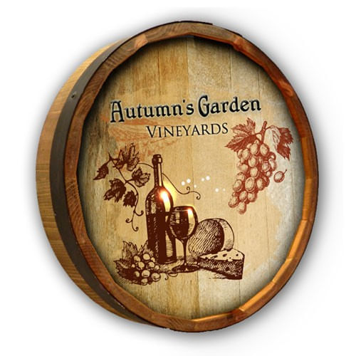 Wine and Cheese Personalized Barrel End Sign