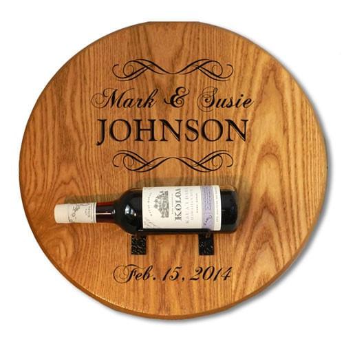 Wine Barrel Head Personalized Bottle Holder