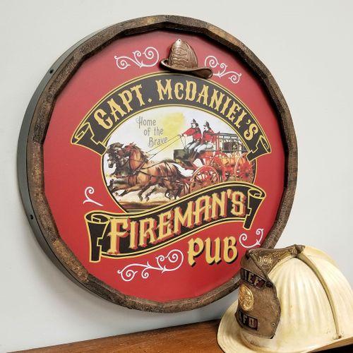 Firemans Pub Personalized Barrel Head Sign