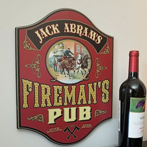 Firemans Pub Personalized Sign