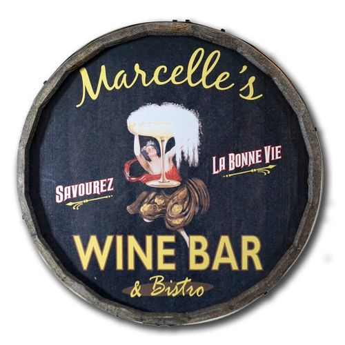 Art Nouveau Personalized Wine Barrel Sign