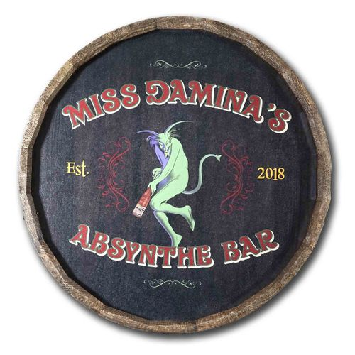 Personalized Absynthe Bar Quarter Barrel Sign