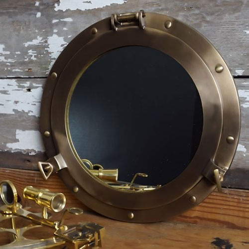 Antique Brass Porthole Mirror 12 Inch inSecondin