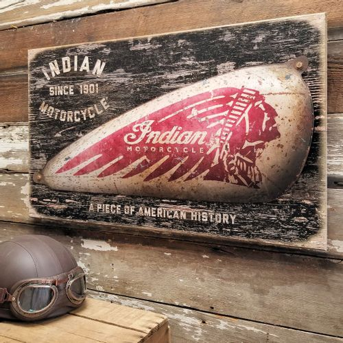 Indian Motorcycle Gas Tank Metal and Wood Sign