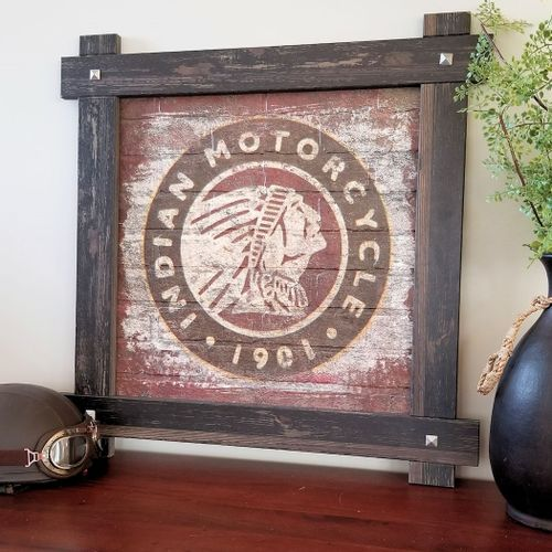 Indian Motorcycle Round Logo On Brick