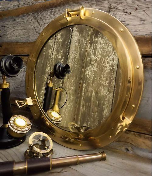 Large 20 Inch Polished Brass Porthole Mirror
