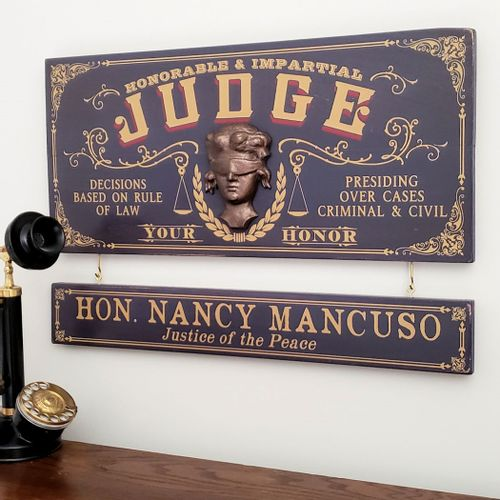 Judge Wood Sign with Optional Nameboard