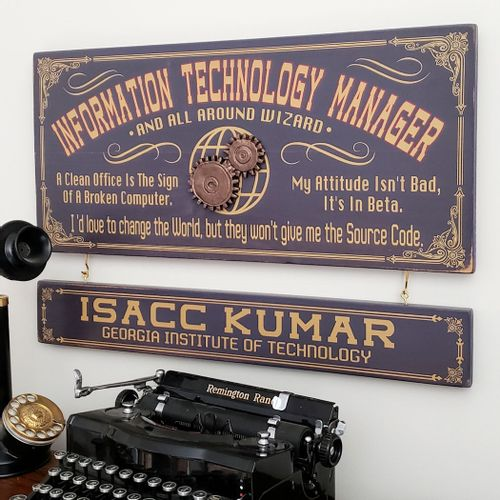 Information Technology Manager Sign with Optional Nameboard