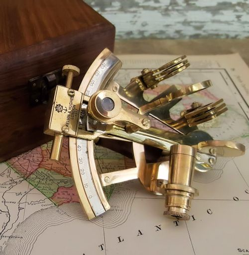4 Inch Polished Brass Sextant