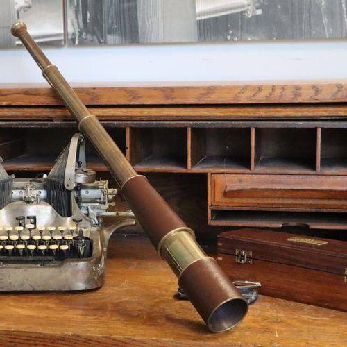 34 Inch Six-Section Leather and Brass Telescope