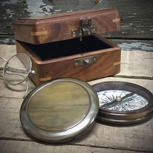 Antiqued Brass Compass - Second
