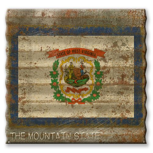 West Virginia State Flag Corrugated Metal Sign