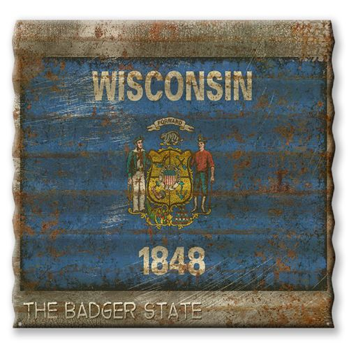 Wisconsin State Flag Corrugated Metal Sign