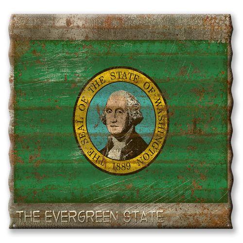 Washington State Flag Corrugated Metal Sign