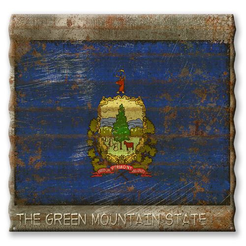 Vermont State Flag Corrugated Metal Sign