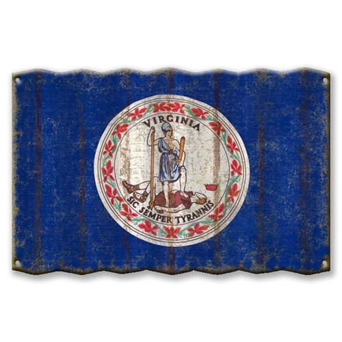 Virginia State Flag Corrugated Metal Sign
