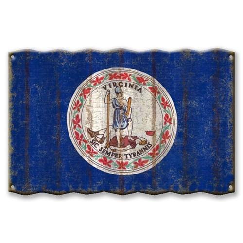 Virginia State Flag Corrugated Metal Sign