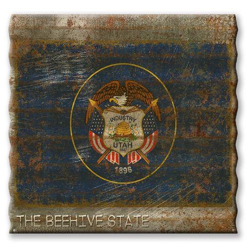 Utah State Flag Corrugated Metal Sign