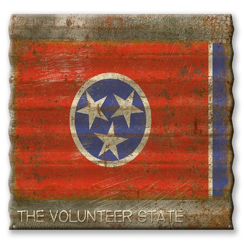 Tennessee State Flag Corrugated Metal Sign