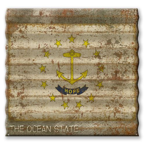 Rhode Island State Flag Corrugated Metal Sign