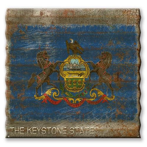 Pennsylvania State Flag Corrugated Metal Sign