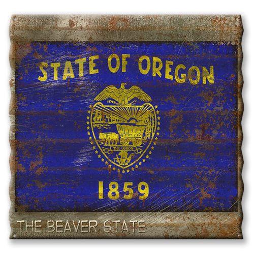 Oregon State Flag Corrugated Metal Sign