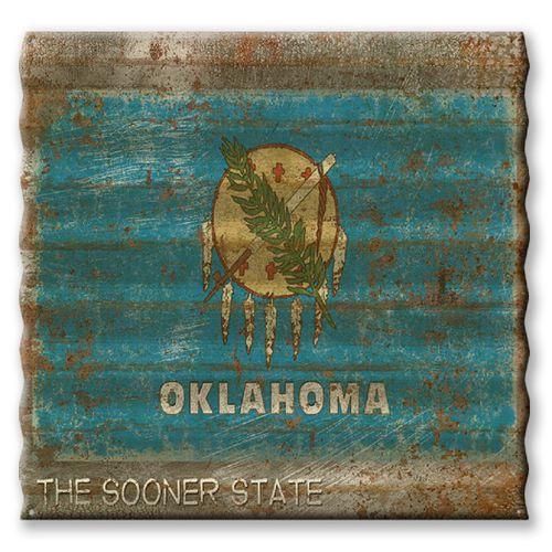 Oklahoma State Flag Corrugated Metal Sign